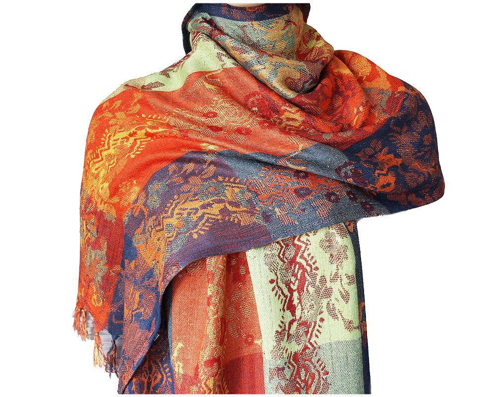 Noa Noa Mega Kolorowy Szal Wzor Ornamentow 200x45 7308391297 Oficjalne Archiwum Allegro Fashion Scarf