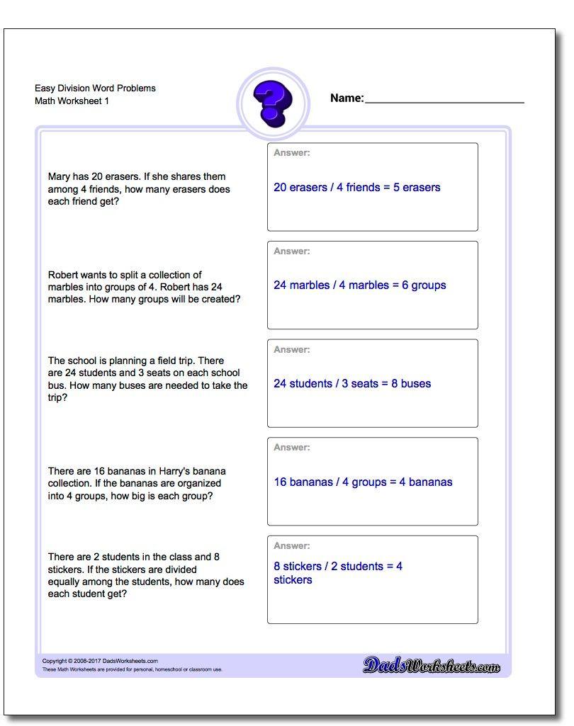 Easy Division Worksheet Word Problems Worksheet Word Problems