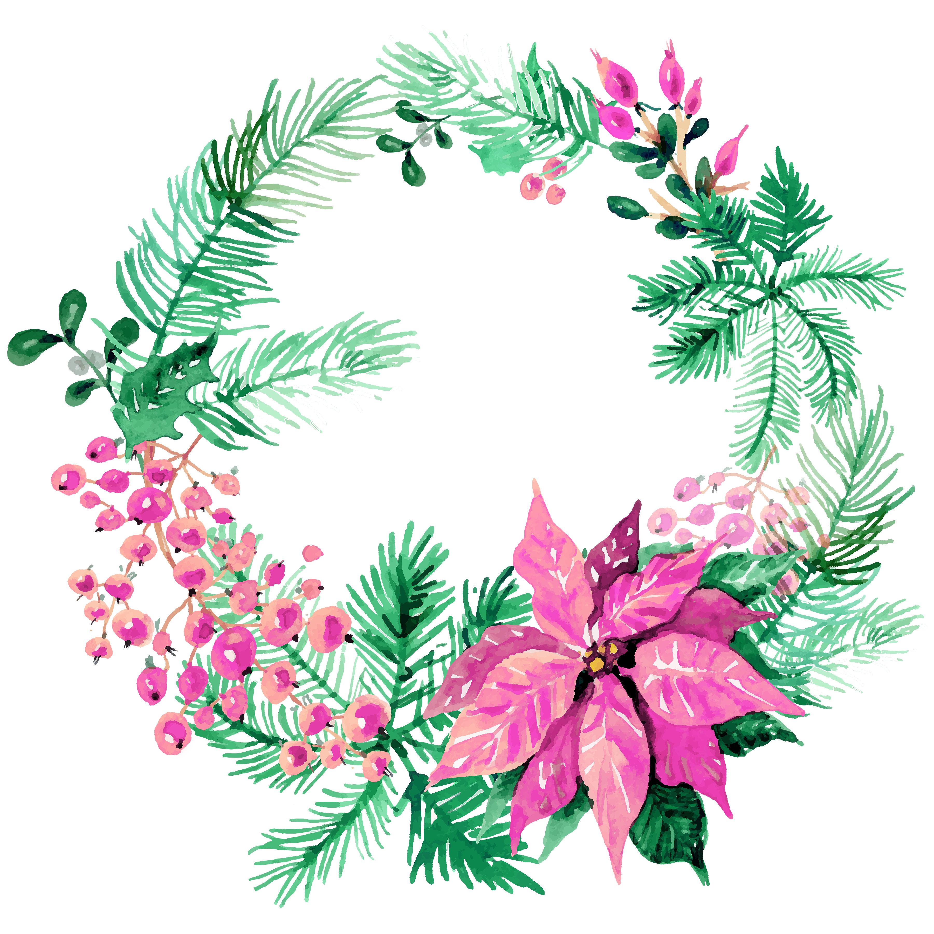 Free Christmas Watercolor Wreaths Images 4 Png 3600 3600 Christmas Watercolor Watercolor Christmas Cards Flower Drawing Design