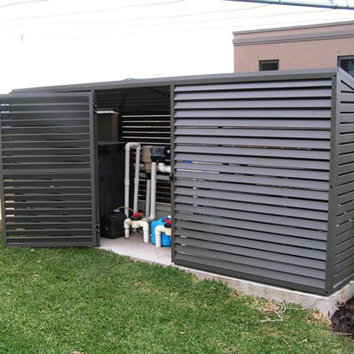 How to Hide an Air Conditioner 9 Clever Ways Pool shed