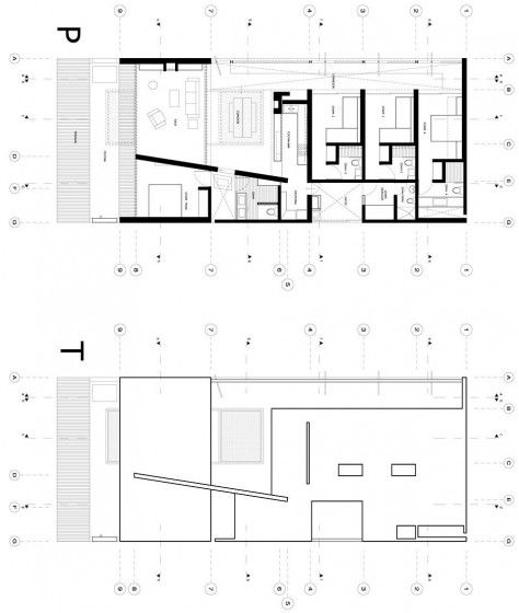 Diseño de casa de playa pequeña, sencilla estructura que se integra - maison de 100m2 plan