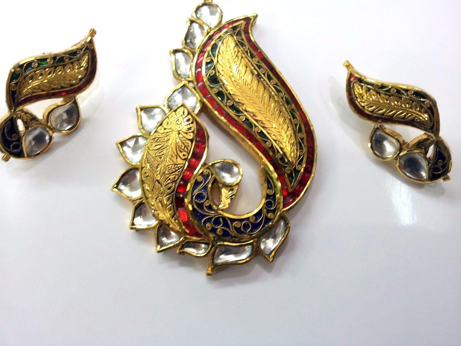 Peacock k k gold red green meena designer kundan pendant set