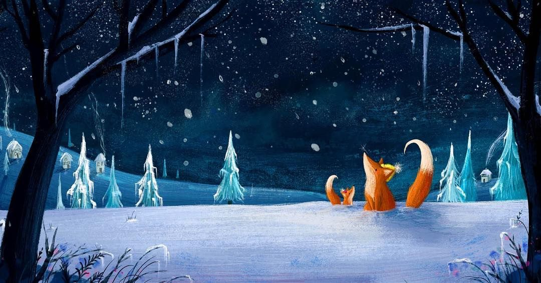 Lucy Fleming On Instagram Snow Fall Foxes Winter Snow Illustration Fox Foxes Babyfox Cute Snow Illustration Night Illustration Winter Illustration