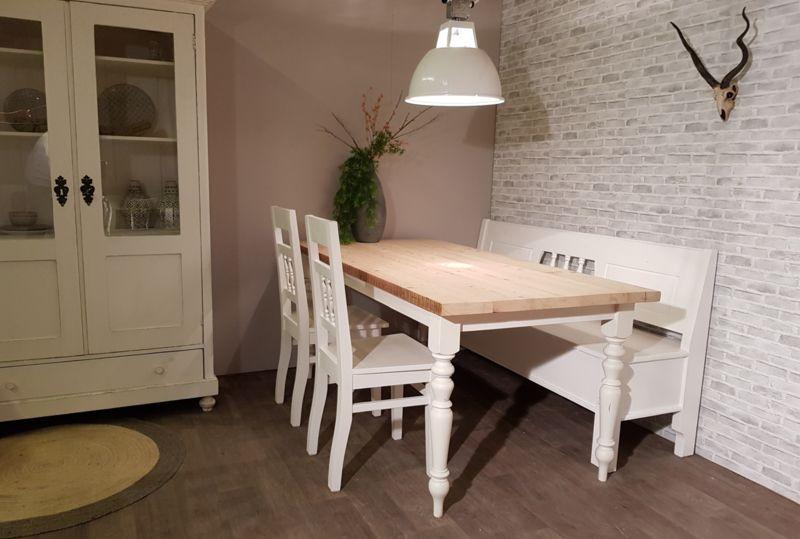 Brocante Witte Eetkamertafel.Brocante Eettafel Wit Met Oud Hout 140 X 80 Cm Eettafels