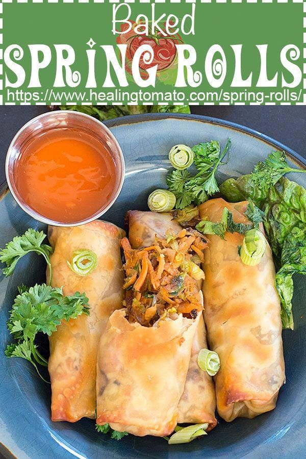 Vegan Baked Spring Rolls filled with sweet potato and Brussels sprouts #healingtomato #springrolls #vegan #appetizers #veganrecipes #veganappetizers