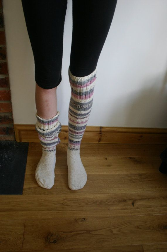 Extra Long Cotton Rich Hand Knitted Fair Isle, Riding, Hiking ...