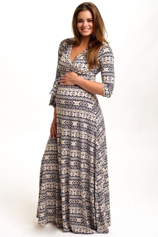 d943f784a30ff Navy Tribal Printed 3/4 Sleeve Maternity Maxi Dress   PinkBlush ...