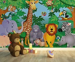 Jungle Animals Nursery Green Wall Mural
