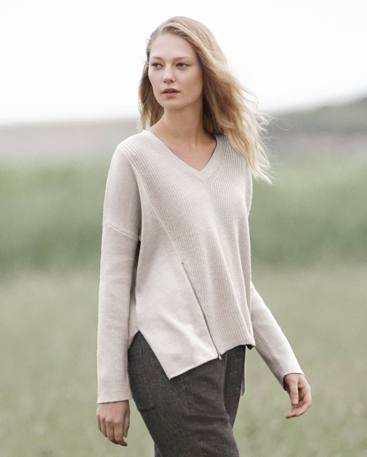 Asymmetric rib sweater with zip detail - easy to wear, but not plain ...