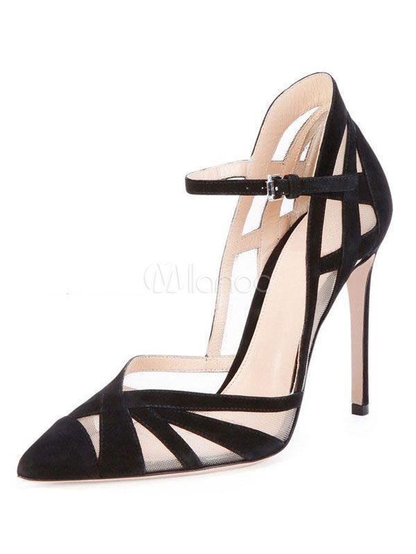 4228e55d6c4a Black High Heels Pointed Toe Stiletto Heel Suede Cut Out Women s Pumps