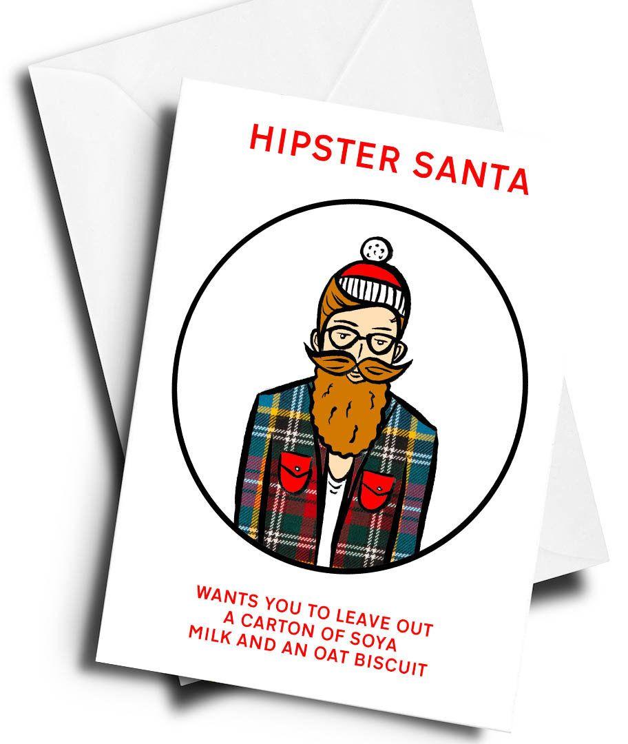 Funny Christmas Cards 2019 Hipster Christmas Card   Santa   Xmas   Happy Holidays   Father