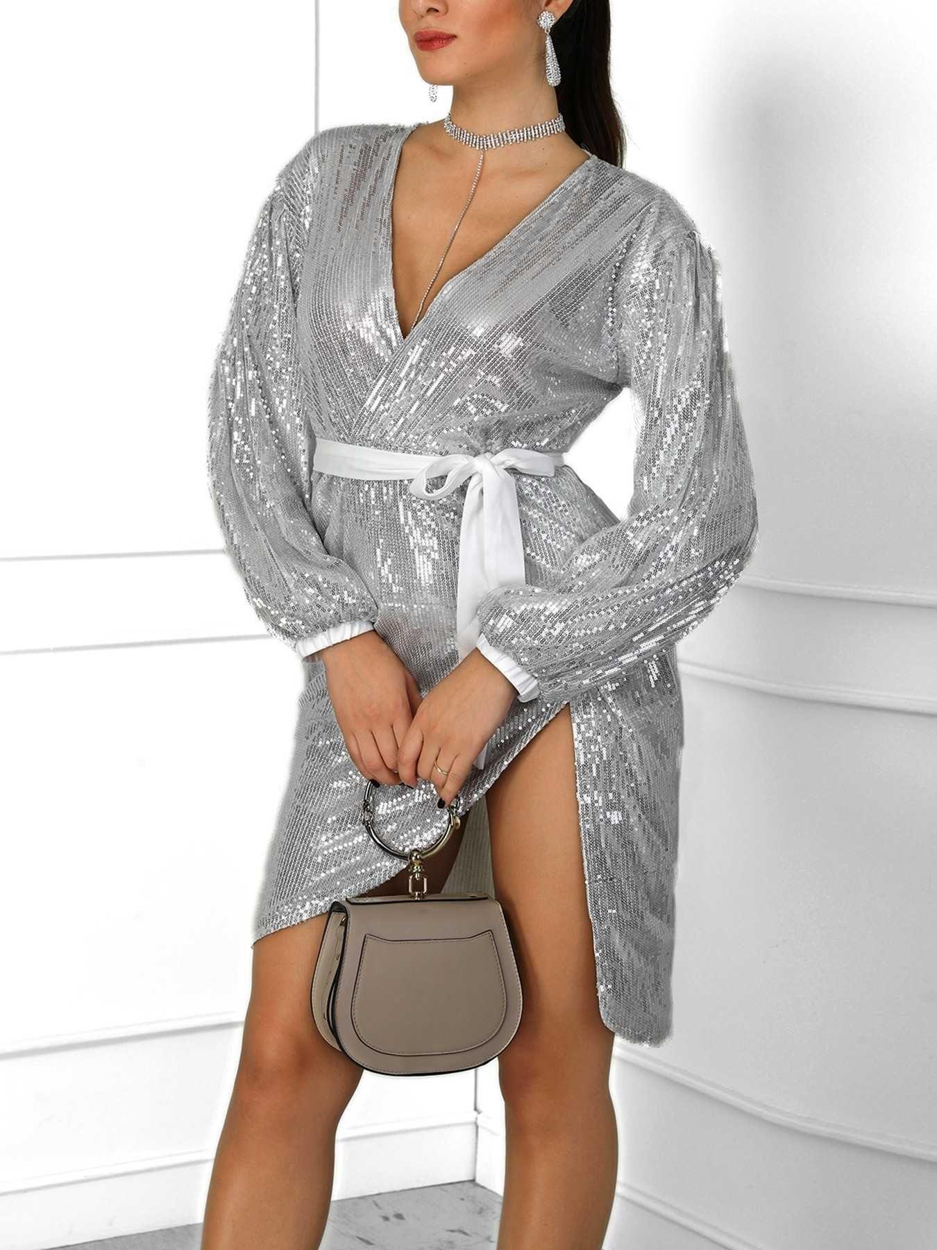 e6f370a7f1 Glittering V-Neck Lantern Sleeve Wrap Party Dress | Dresses in 2019 ...