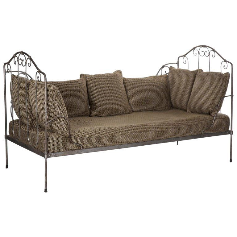 Antique French Wrought Iron Campaign Style Daybed Sofa Daybed