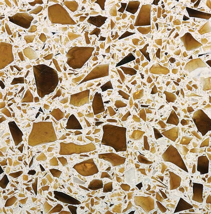 Recycled Beer Bottle Fragments Give This Countertop Its Brown Tone