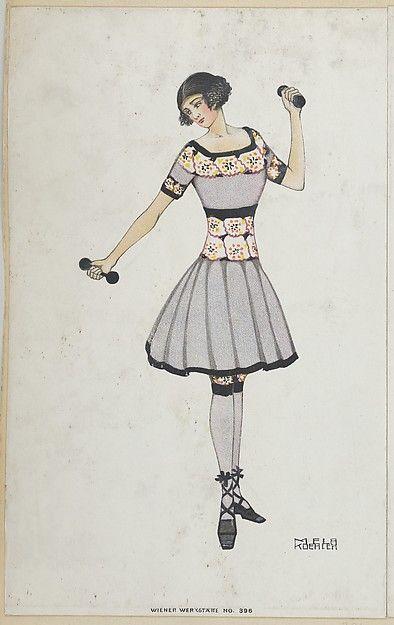 Woman with Dumbbells, Artist: Mela Koehler (Austrian, Vienna 1885–1960 Stockholm), Publisher: Wiener Werkstätte, Date: 1911