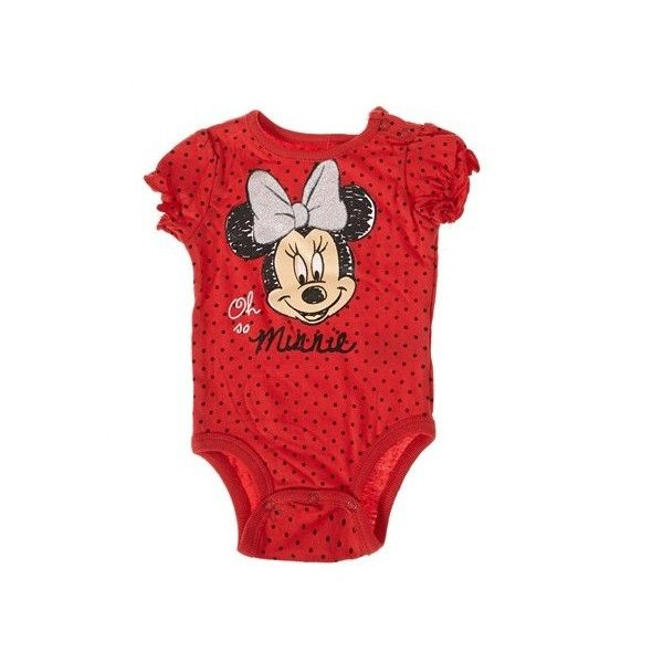 Polka Dot Minnie Mouse Bodysuit 3 9m 390263006   One Pieces   Baby... ($2.98) ❤ liked on Polyvore featuring baby