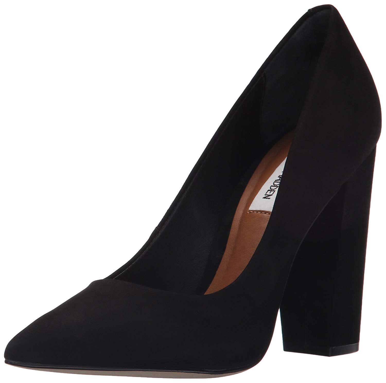 906f9589380 Steve Madden Women's Primpy Dress Pump. Chunky high heel pointed-toe ...