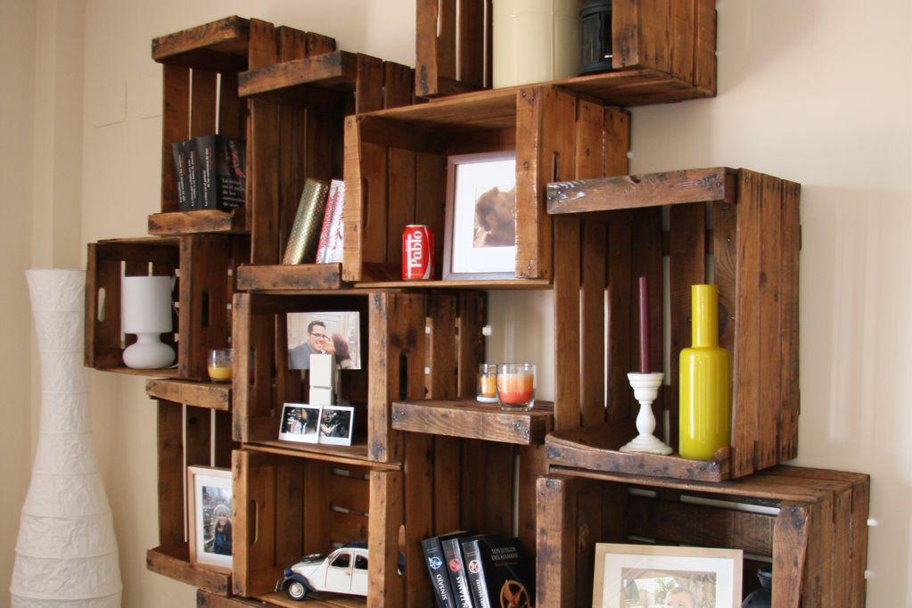 Estanteria cajas de fruta abedul ecodeco mobiliario - Cajas para estanterias ...