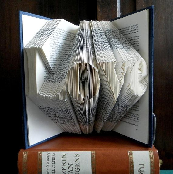Folded Book Art - LOVE - Hand crafted - Home decoration - 4 letters - Word - Original gift - Handmade - House ornament