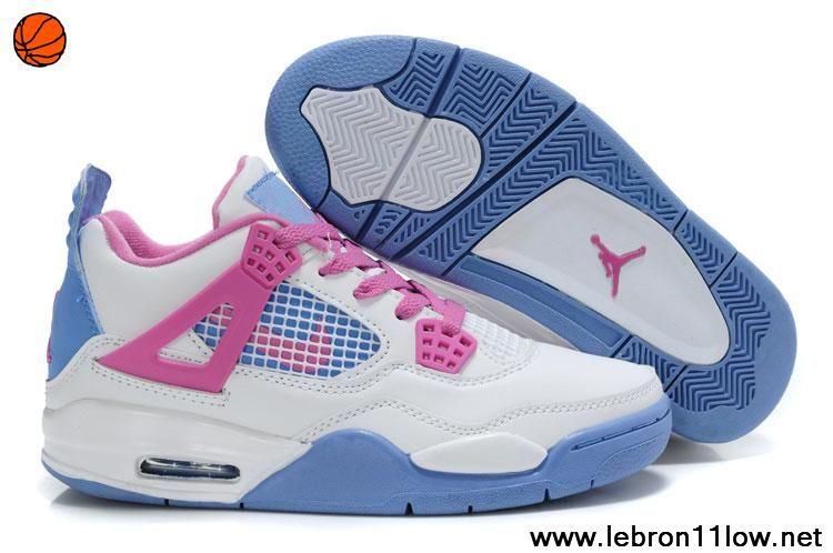 buy popular 1d0ba 0f422 White Blue Pink Women Air Jordans 4 For Sale