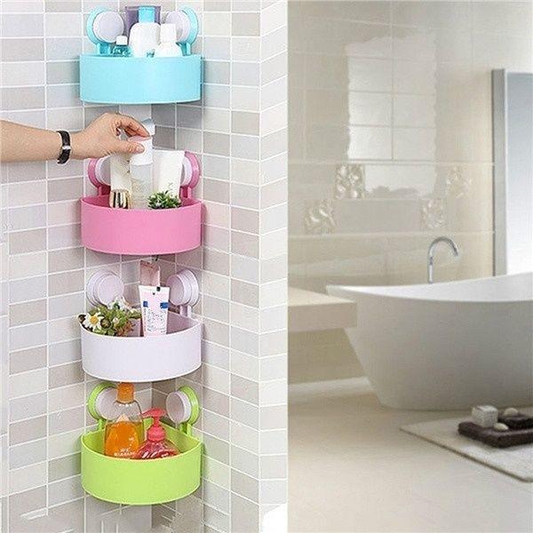 Plastic Bathroom Kitchen Corner Wall Storage Rack Organizer Shower Shelf Basket