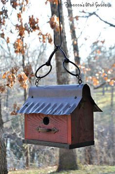Rustic Hanging Birdhouse The Barn by RebeccasBirdGardens on Etsy
