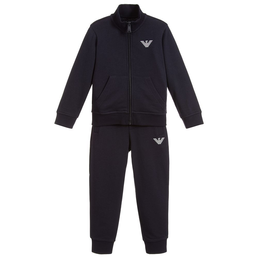 Boys navy blue tracksuit from Emporio Armani, made in soft ...