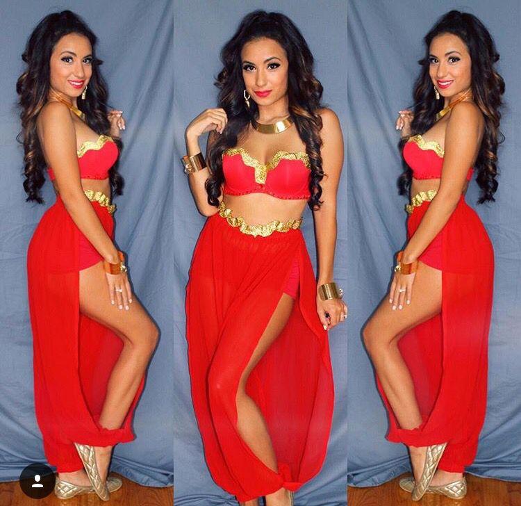 Unique one of a kind custom made Red Princess Jasmine costume - DIY - princess halloween costume ideas