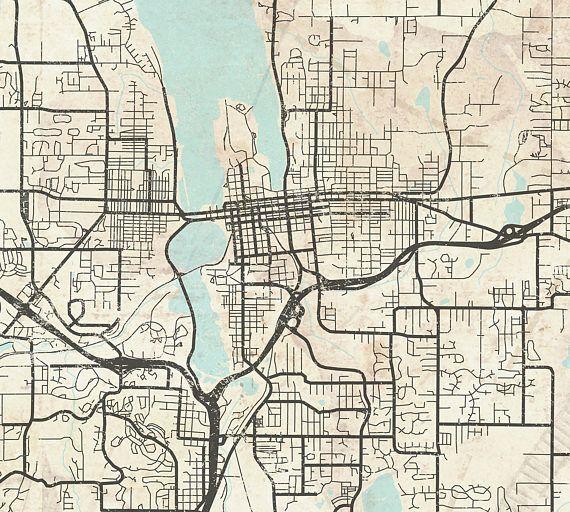 OLYMPIA WA Canvas print Washington State Vintage City map Olympia Wa
