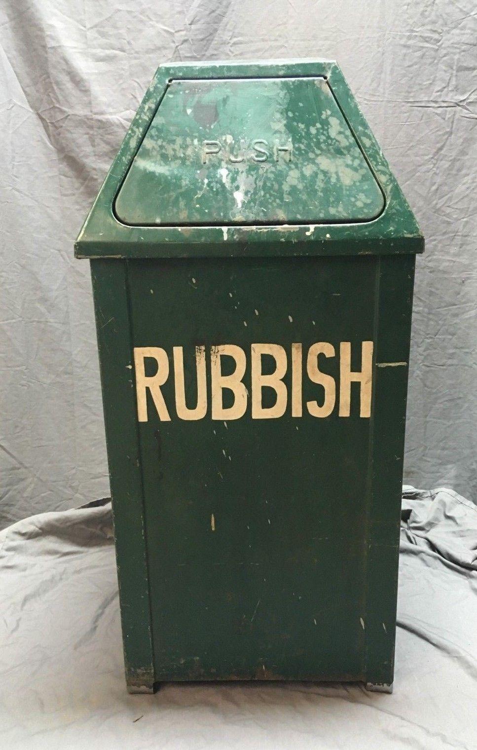 Vtg Pyramid Trash Can Green Rubbish Bin Steampunk Swing Push Tilt Top 139 18c Ebay Trash Can Rubbish Bin Trash