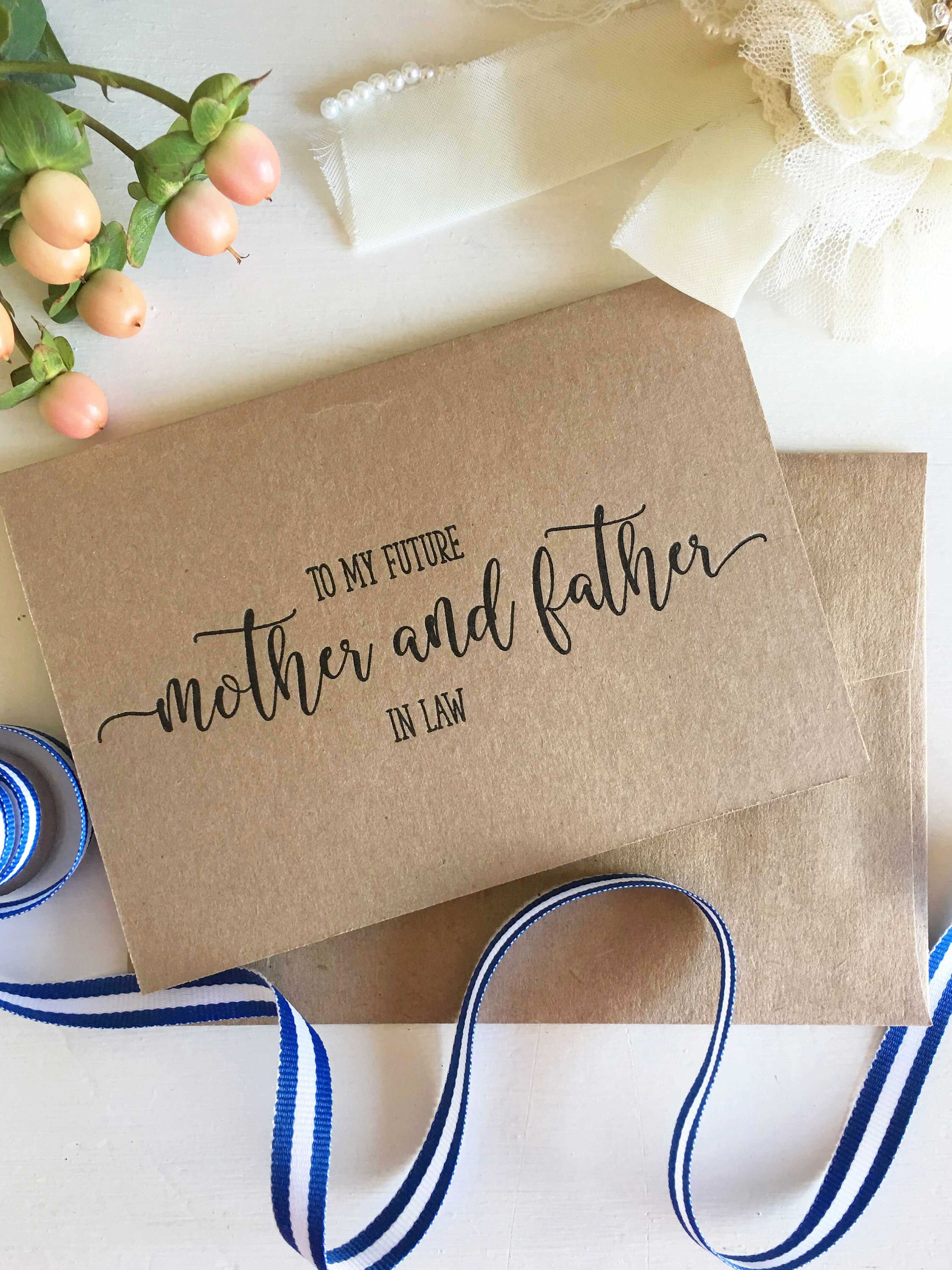 To My Parents In Law On My Wedding Day Card To My Future Parents In Law Mother In Law Card Wedding Parent Gift Mother And Father In Law Wedding Gifts For