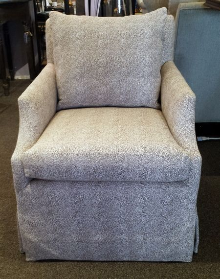 LEE Industries SALE! 1201 01SW Swivel Chair Small Scale, Skirted Swivel  Chair In Grade Q Iris Chocolate Fabric With Down Back Cushion. List Price:u2026