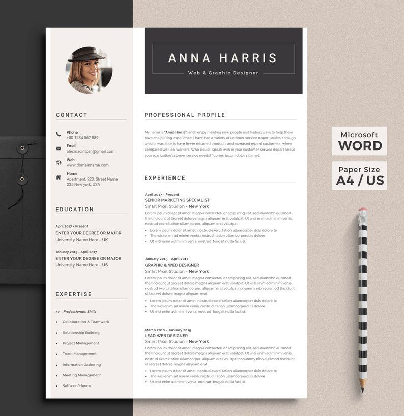 Professional Resume Template Word Resume Cv Template Etsy Resume Template Word Resume Template Professional Resume Words