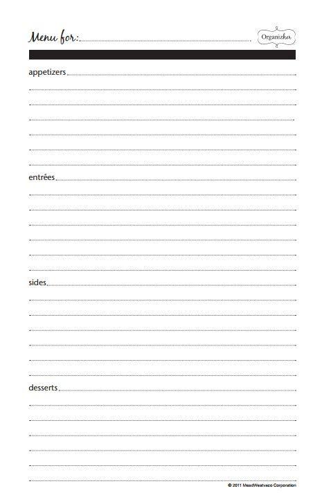 menu planner  printables