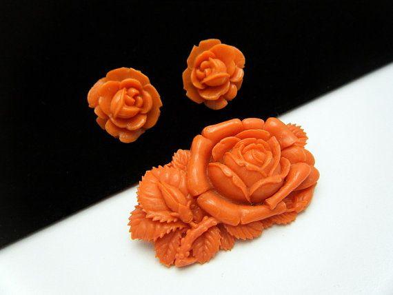 Vintage Japan Celluloid Flower Rose Set Faux by SweetThingsJewels, $49.50