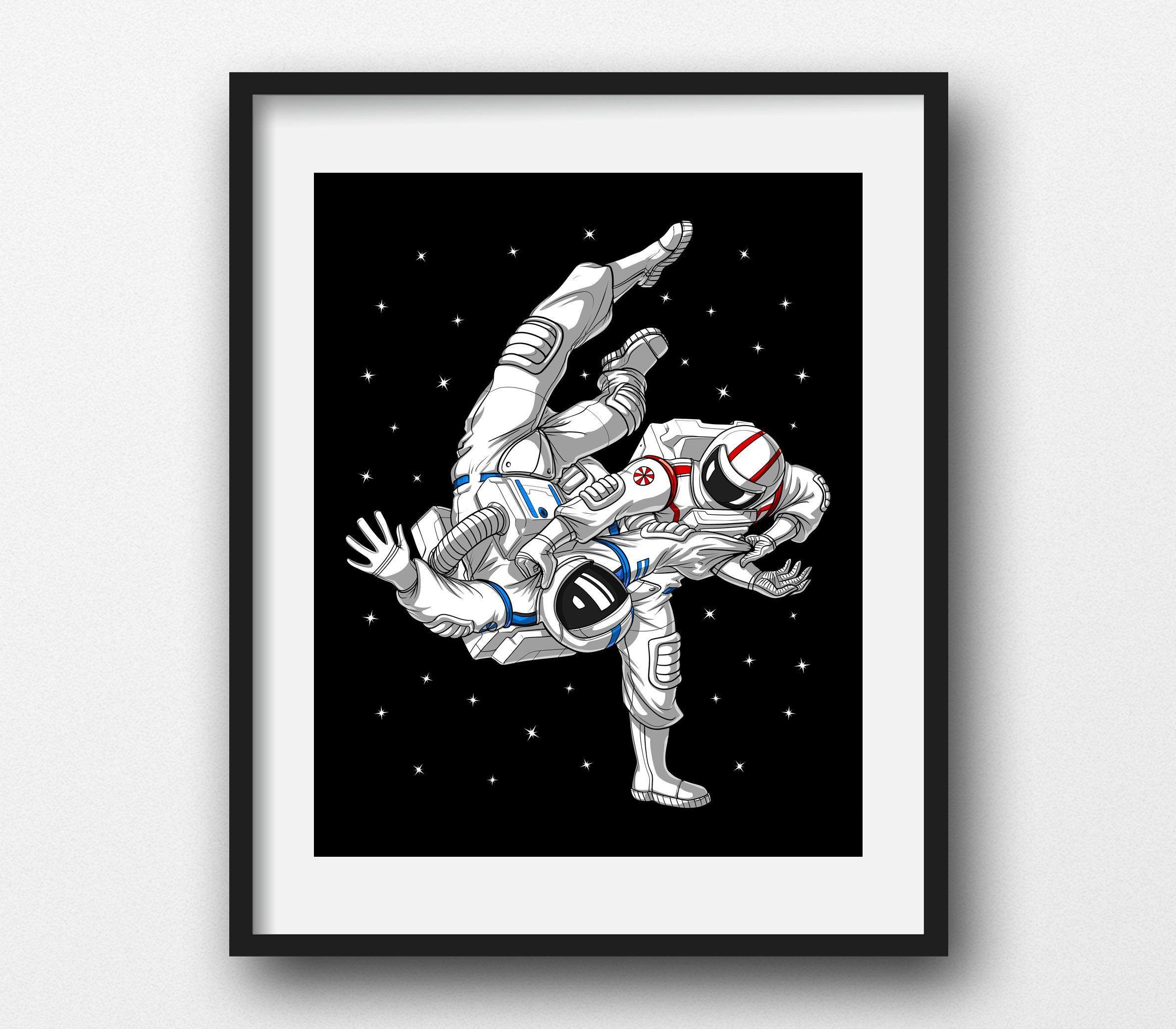 Astronaut Jiu Jitsu Canvas Poster Brazilian Jiu Jitsu Art Etsy Canvas Poster Art Prints Funny Art Prints