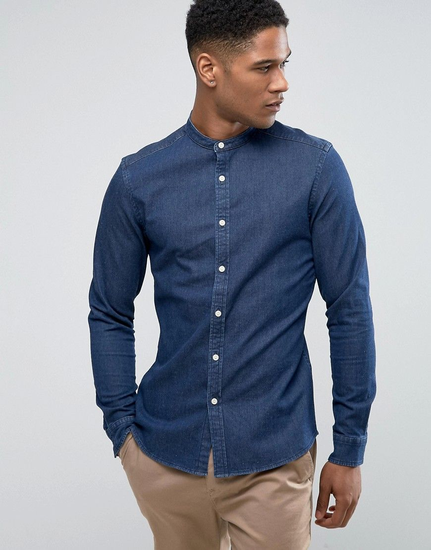 a18bcc746d ASOS Skinny Denim Shirt With Grandad Collar In Rinse Wash - Navy ...