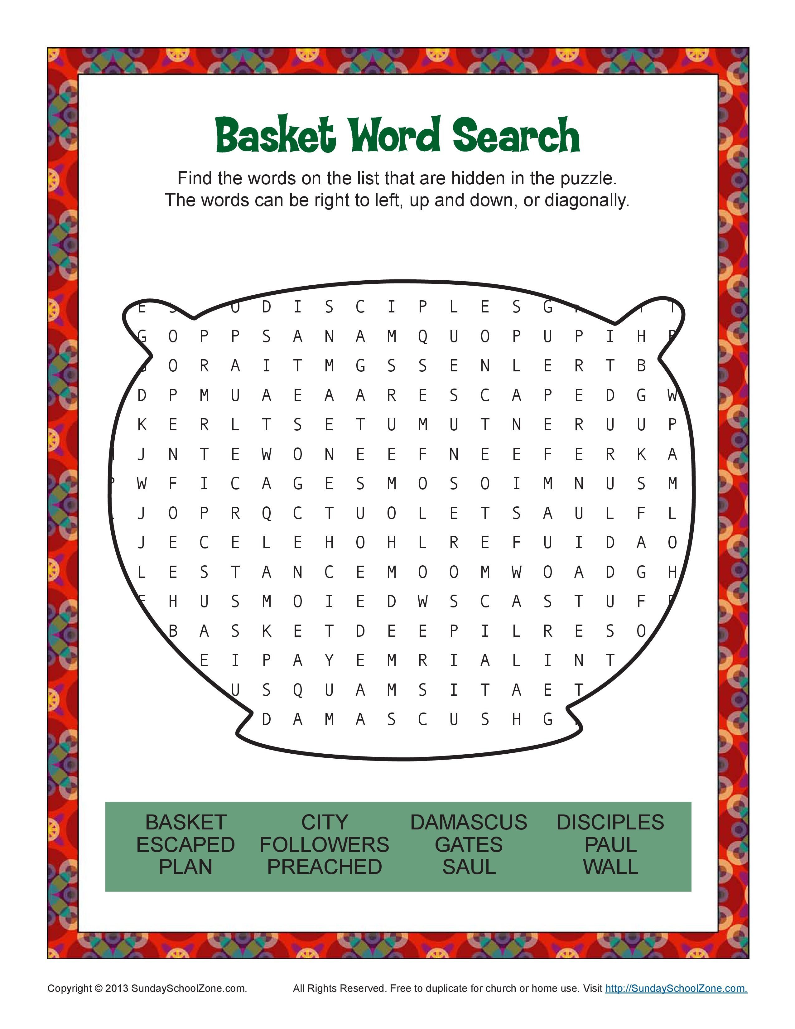 Sunday School Word Search Activity