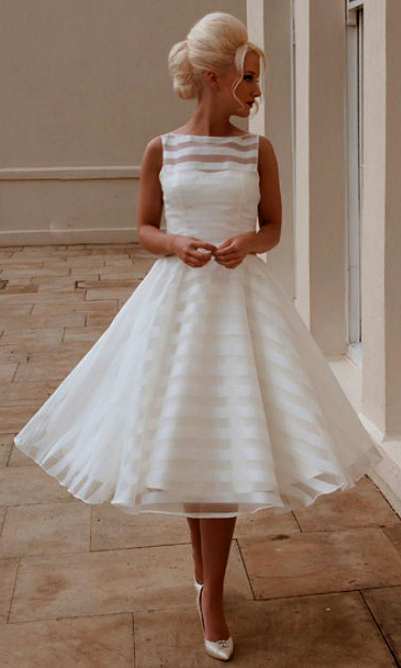 New Custom A Line Scoop Sleeveless Vintage Tea Length Tulle Short Wedding Dresses Bridal Gowns 2015