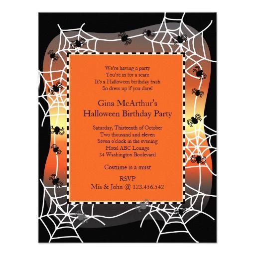 Halloween Birthday Bash Costume Party Custom Invitations