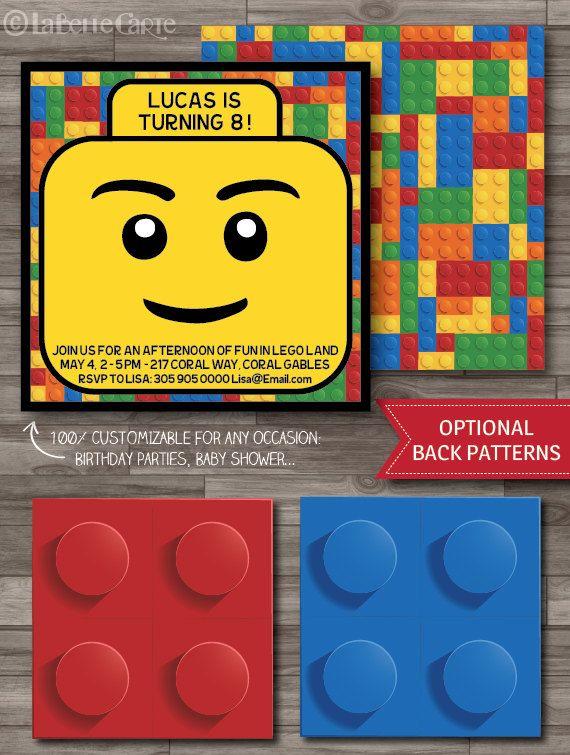 Lego Invitation, Lego Party, Lego Birthday Party Invitations, Lego Movie Party Invitations - DIGITAL PRINTABLE FILE