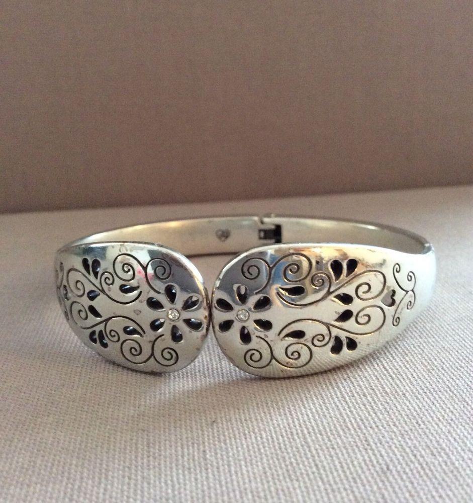 "a3c6f52267 Brighton Floral Etch Clamp Cuff Bracelet Silver Plated ""Read Full  Description"""