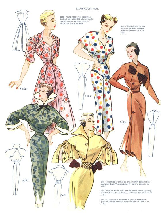 1950 Spring French Fashion Pattern Book Eclair Coupe Paris | Figurin ...