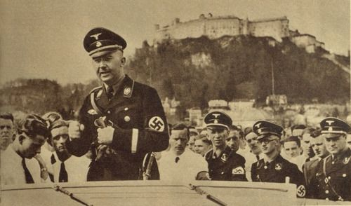 Heinrich Himmler speaking to the SS. In the background you can see  Wewelsburg Castle