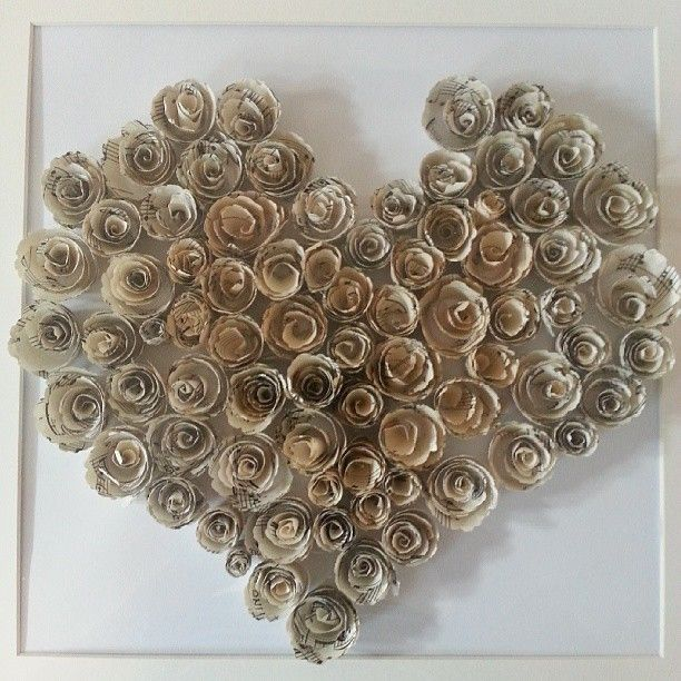 Roses made from vintage music sheets, shaped into a gorgeous heart! Made to order, £50+ P&P www.facebook.com/ktillustrations
