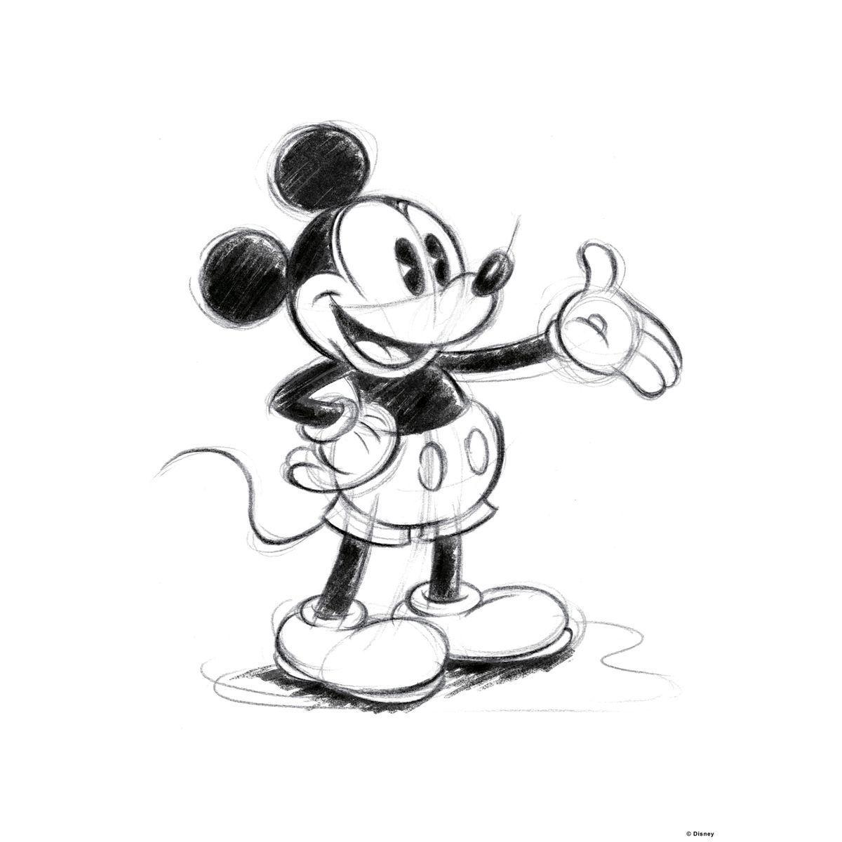 Disney print canvas Mickey Sketch black white 18 x 18  Mickey
