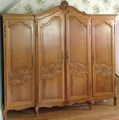 Oak Armoire Wardrobe 1930s French Provincial Hand