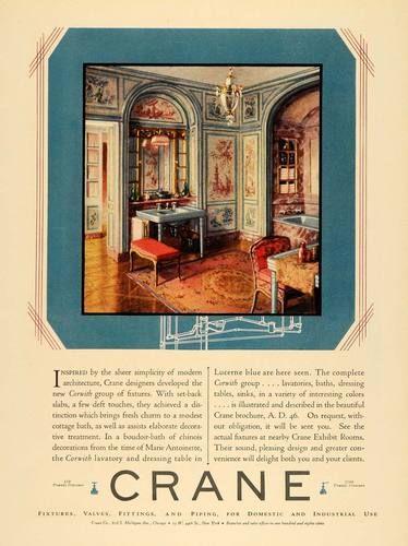 1929 Ad Crane Valves Corwith Fixtures Marie Antoinette Bathroom Interior  Design | eBay