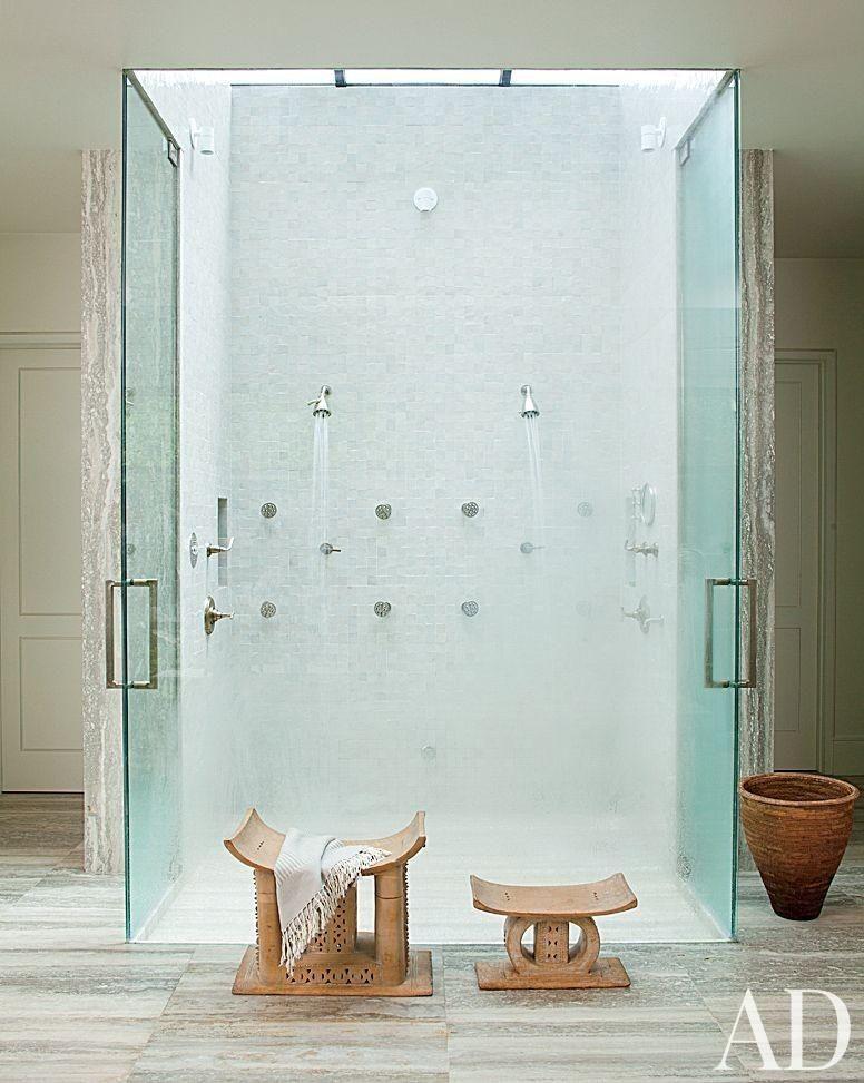 Ellen Degeneres's Beverly Hills Home | Amazing glass shower in the bathroom