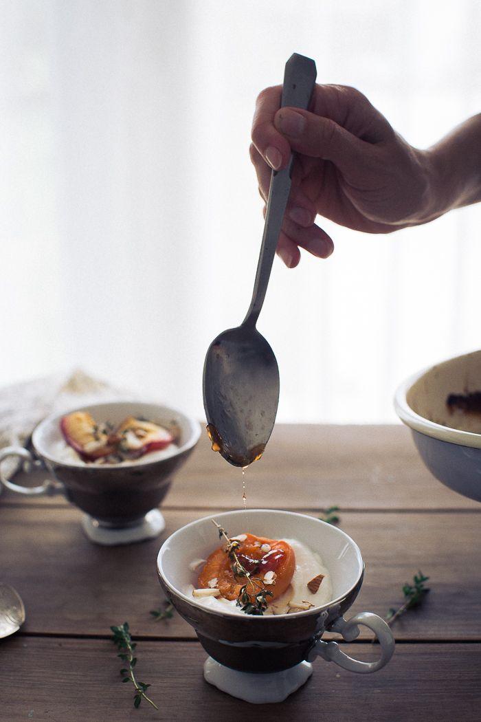 Roasted peaches and apricots with ricotta * Pêssegos e alperces assados com ricotta  suvellecuisine.com